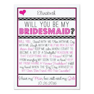 """¿Usted será mi dama de honor? Tarjeta rosada/negra Invitación 4.25"""" X 5.5"""""""
