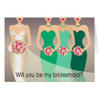 ¿Usted será mi dama de honor? Verde nupcial del Tarjeta De Felicitación