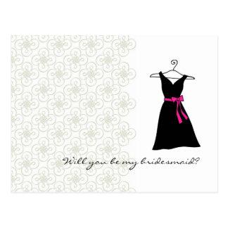 Usted será mi dama de honor: Vestido del negro/del Tarjetas Postales