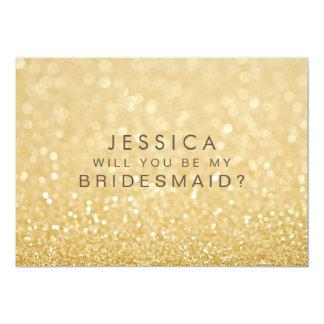 """Usted será mi falsa tarjeta del brillo del oro de invitación 5"""" x 7"""""""