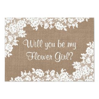"""¿Usted será mi florista? Arpillera y cordón Invitación 5"""" X 7"""""""
