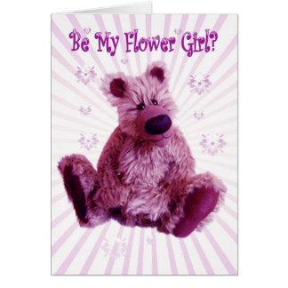 Usted será mi florista, boda del oso de peluche tarjeton