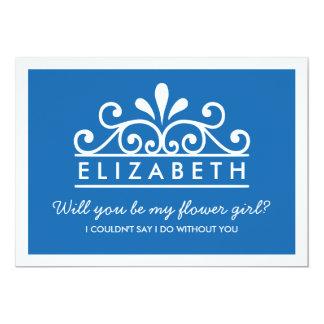 """¿Usted será mi florista? Tarjeta azul de la tiara Invitación 5"""" X 7"""""""