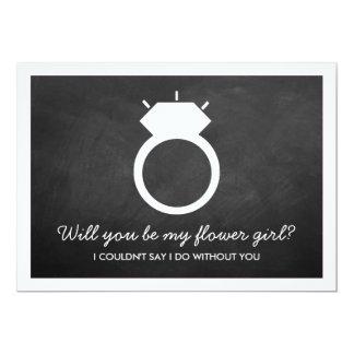 """¿Usted será mi florista? Tarjeta del anillo de la Invitación 5"""" X 7"""""""