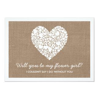 """¿Usted será mi florista? Tarjeta del corazón de la Invitación 5"""" X 7"""""""