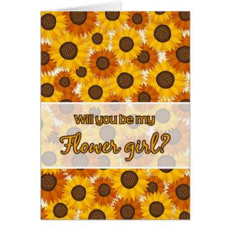 ¿Usted será mi florista? tarjeta del girasol