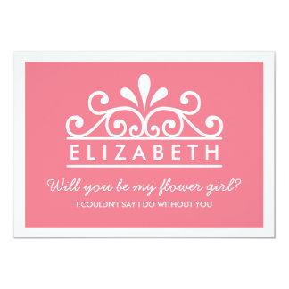 """¿Usted será mi florista? Tarjeta rosada de la Invitación 5"""" X 7"""""""