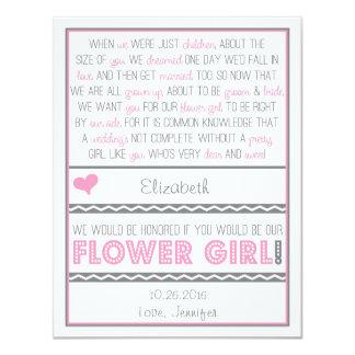 """¿Usted será mi florista? Tarjeta rosada/gris del Invitación 4.25"""" X 5.5"""""""