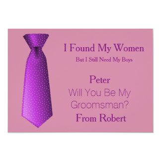"""Usted será mi lazo púrpura y blanco del padrino de invitación 5"""" x 7"""""""