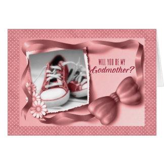 Usted será mi madrina - rosa de la niña tarjeta de felicitación
