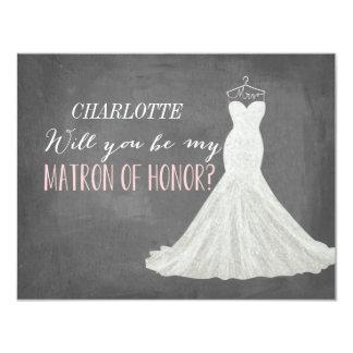 """Usted será mi matrona de la dama de honor del invitación 4.25"""" x 5.5"""""""