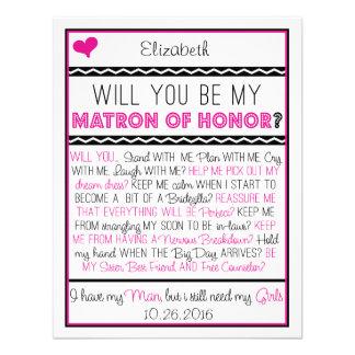 ¿Usted será mi matrona del honor? Collage rosado/n Invitaciones Personales