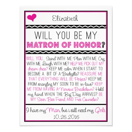 ¿Usted será mi matrona del honor? Collage rosado/n Invitaciones Personales