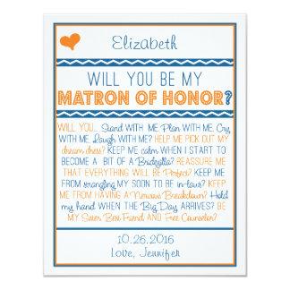 ¿Usted será mi matrona del honor? Marina de Invitaciones Personales