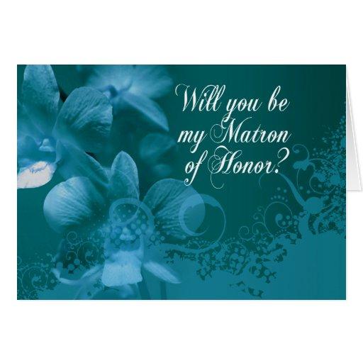 ¿Usted será mi matrona del honor? Orquídeas y Tarjeta De Felicitación