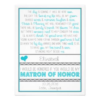 ¿Usted será mi matrona del honor? Poema azul/gris Invitaciones Personales