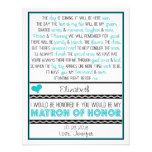 ¿Usted será mi matrona del honor? Poema azul/negro Anuncio Personalizado