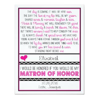 """¿Usted será mi matrona del honor? Poema Invitación 4.25"""" X 5.5"""""""