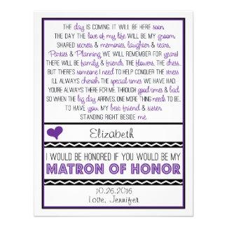 ¿Usted será mi matrona del honor? Poema púrpura/ne Comunicado