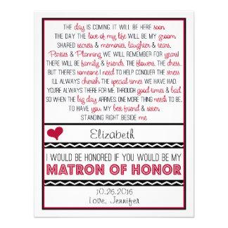 ¿Usted será mi matrona del honor? Poema rojo/negro Comunicado Personal