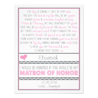 ¿Usted será mi matrona del honor? Poema rosado/gri Comunicado