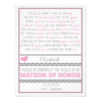 ¿Usted será mi matrona del honor Poema rosado gri Comunicado