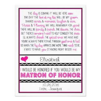 ¿Usted será mi matrona del honor Poema rosado neg Anuncio Personalizado