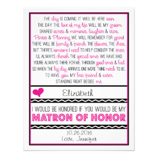 ¿Usted será mi matrona del honor? Poema rosado/neg Comunicado Personal