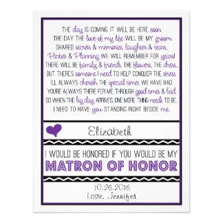 ¿Usted será mi matrona del honor Purp poema negro Anuncio Personalizado