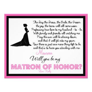 ¿Usted será mi matrona del honor? Tarjeta Anuncio