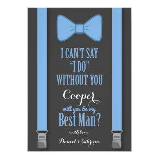"""Usted será mi mejor hombre - apoyos azules del invitación 4.5"""" x 6.25"""""""