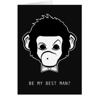 ¿usted será mi mejor hombre? mono del señor tarjeta pequeña