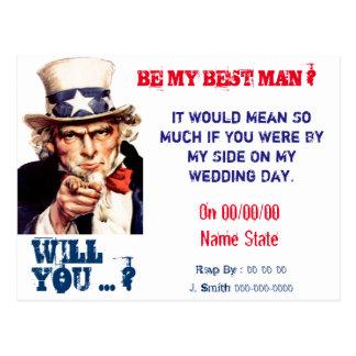 usted será mi mejor hombre, padrino de boda postales