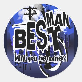 ¿Usted será mi mejor hombre? Pegatinas de la Pegatina Redonda