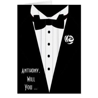 ¿usted será mi mejor hombre? sea mi padrino de tarjeta pequeña