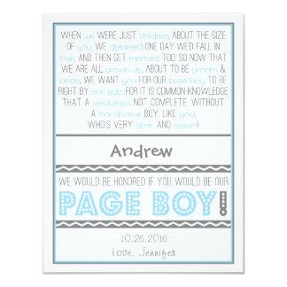 """¿Usted será mi muchacho de la página? Azules Invitación 4.25"""" X 5.5"""""""
