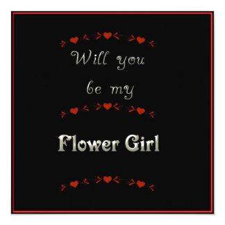 """Usted será mi negro, rojo y blanco del florista invitación 5.25"""" x 5.25"""""""