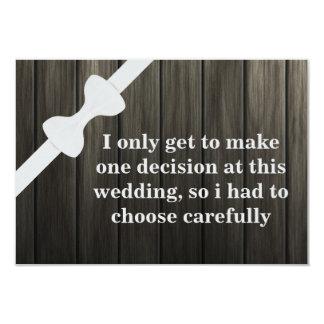 """¿Usted será mi padrino de boda? Fondo de madera Invitación 3.5"""" X 5"""""""