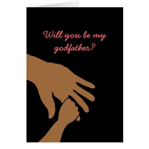 usted será mi padrino en la tarjeta rosada étnica