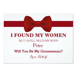 """Usted será mi pajarita roja del padrino de boda invitación 5"""" x 7"""""""