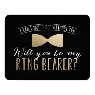 """¿Usted será mi portador de anillo? padrinos de Invitación 4.25"""" X 5.5"""""""