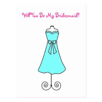 Usted será mi Postal-Vestido de la dama de honor