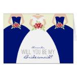 Usted será mi tarjeta de la dama de honor (el azul