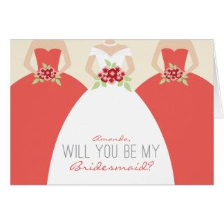 Usted será mi tarjeta de la dama de honor (el cora