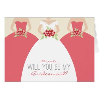 Usted será mi tarjeta de la dama de honor (el rosa