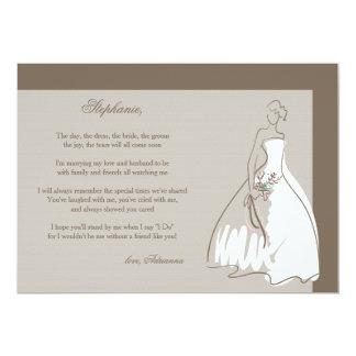 """Usted será mi tarjeta de la dama de honor invitación 5"""" x 7"""""""