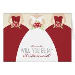 Usted será mi tarjeta de la dama de honor (roja)