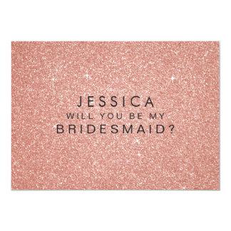 """Usted será mi tarjeta del brillo del oro del rosa invitación 5"""" x 7"""""""