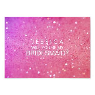 """Usted será mi tarjeta del brillo del rosa de la invitación 5"""" x 7"""""""