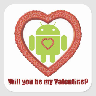 ¿Usted será mi tarjeta del día de San Valentín? Colcomanias Cuadradas Personalizadas